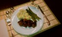 Pork Medallions Shown with Oven Roased Cauliflower and Asparagus